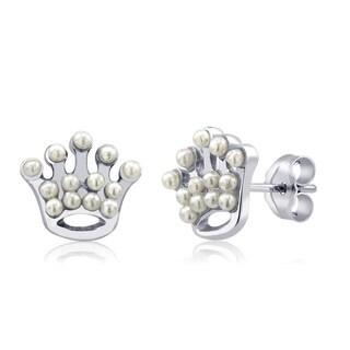 Sterling Silver Crown Freshwater Pearls Earrings