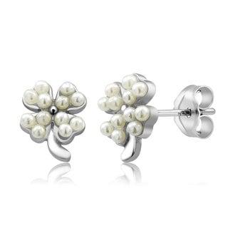 Sterling Silver Clover Freshwater Pearls Earrings