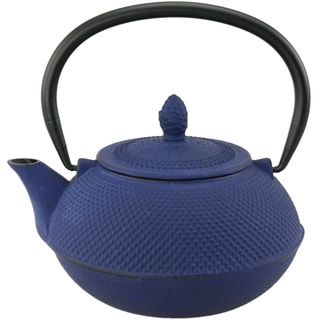 Creative Home Kyusu 30-ounce Cast Iron Blue Tea Pot