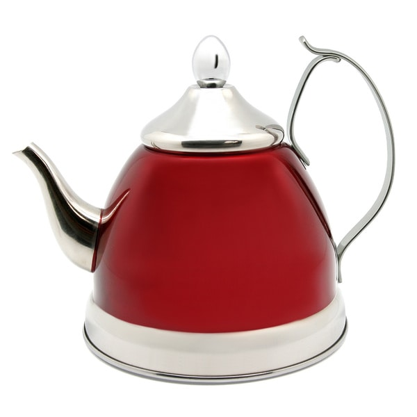 Creative Home Nobili-Tea 1.0-quart Tea Kettle/ Tea Pot with Stainless Steel Infuser Cranberry Basket