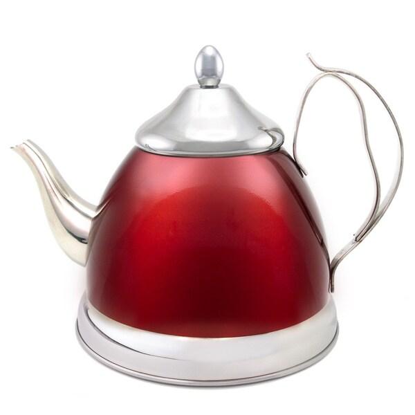 Creative Home Nobili-Tea 2.0-quart Tea Kettle/ Tea Pot with Stainless Steel Infuser Cranberry Basket