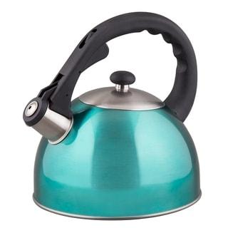 Creative Home Satin Splendor 2.8 Qt Whistling Stainless Steel Metallic Aqua Teak Kettle