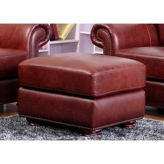 Abbyson Living Chandler Leather Ottoman
