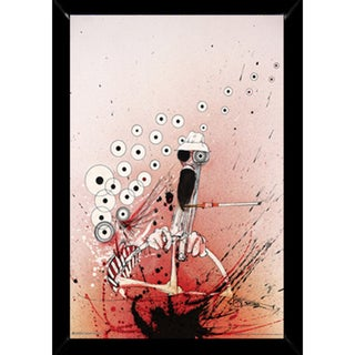 Ralph Steadman Hunter Driving Print (24-inch x 36-inch) with Contemporary Poster Frame
