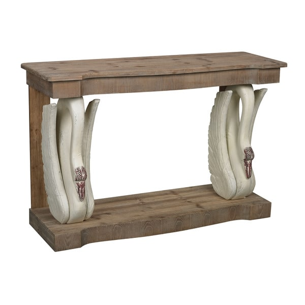 Baywood Swan Console Table with Wooden Top