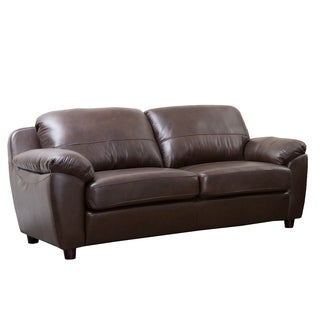 Abbyson Living Cosmopolitan Brown Leather Sofa