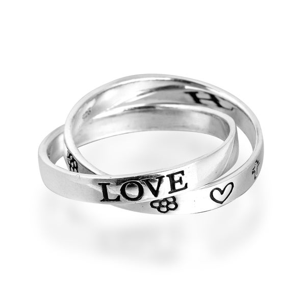 Love Hope Faith Interconnected Band Sterling Silver Ring (Thailand)