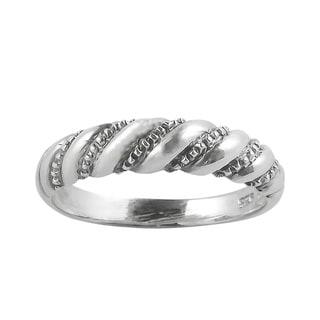 Diagonal Twist Spiral .925 Sterling Silver Ring (Thailand)