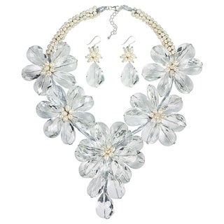 Sparkling Floral Crystal Necklace Earrings Jewelry Set (Thailand)