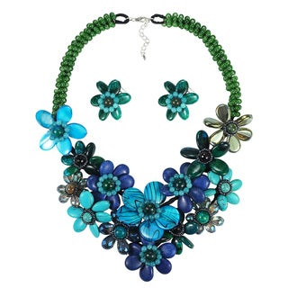 Vibrant Blue Array Floral Bouquet Necklace Earrings Jewelry Set (Thailand)