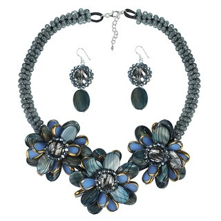Blue Accent Painted Mother of Pearl Necklace Earrings Jewelry Set (Thailand)