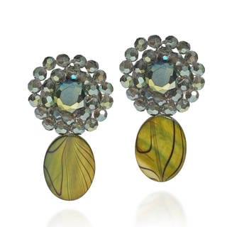 Olive Green Zebra Painted Mother of Pearl Clip On Drop Earrings (Thailand)