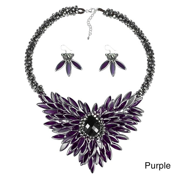 Baroque Hidden Floral Purple Glass Necklace and Earring Jewelry Set (Thailand)