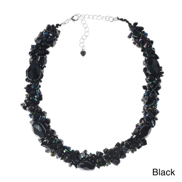 Oval gemstones with Seed Beads Clustered Chunky Strand Necklace (Thailand)