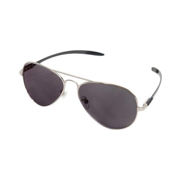 Euro Optix Unisex Silver/ Black Arms Aviator Sunglasses