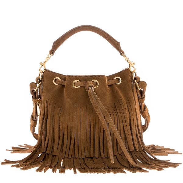Saint Laurent Small 'Emmanuelle' Fringed Suede Bucket Handbag