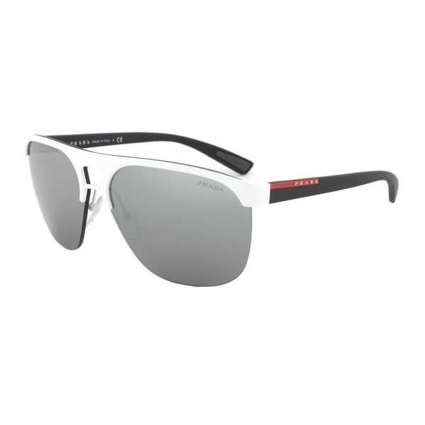 Prada Sport PS53QS TWK7W1 Sunglasses in White Frame and Gray Mirror Silver Lenses
