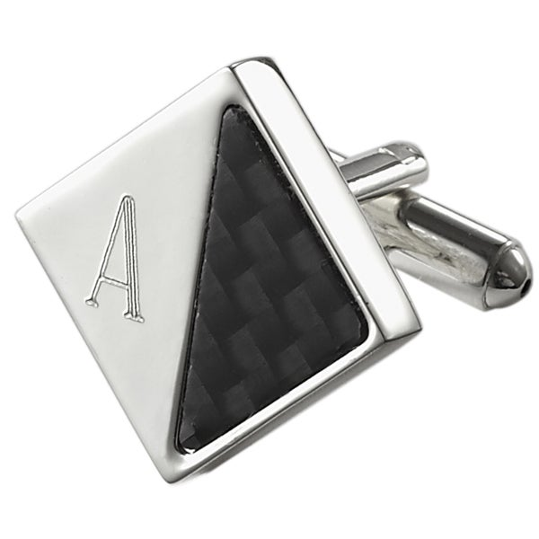 Visol Moretti Personalized Carbon Fiber and Silver Plated Cufflinks