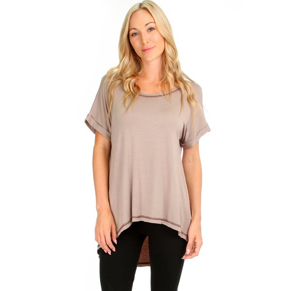 Women's High-Low Contrast-Stitch Top