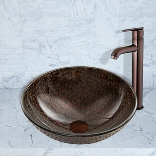 VIGO Copper Shield Glass Vessel Sink and Seville Faucet in Oil Rubbed Bronze