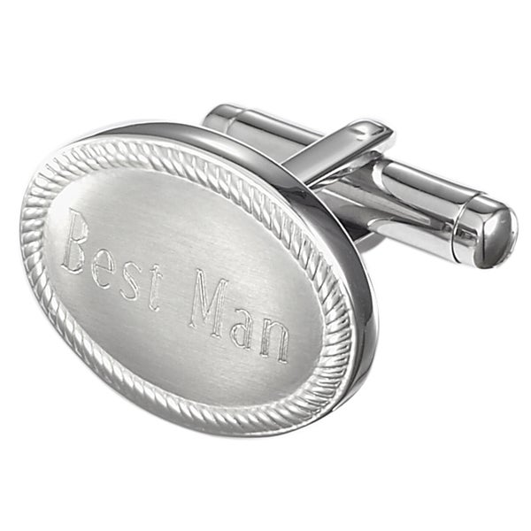 Visol Ovale Personalized Stainless Steel Best Man Cufflinks