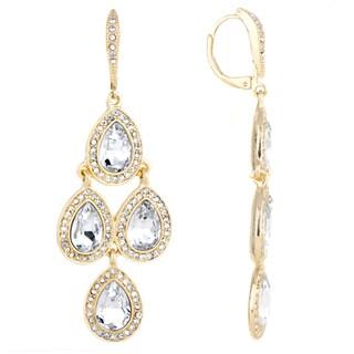 Gold Rhinestone Chandelier Earrings