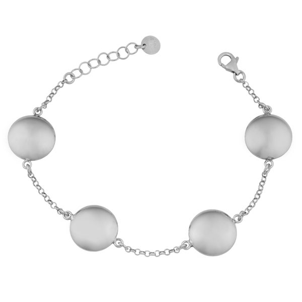 Argento Italia Rhodium Plated Sterling Silver Puff Disc Station Adjustable Length Bracelet (7.5 inches)