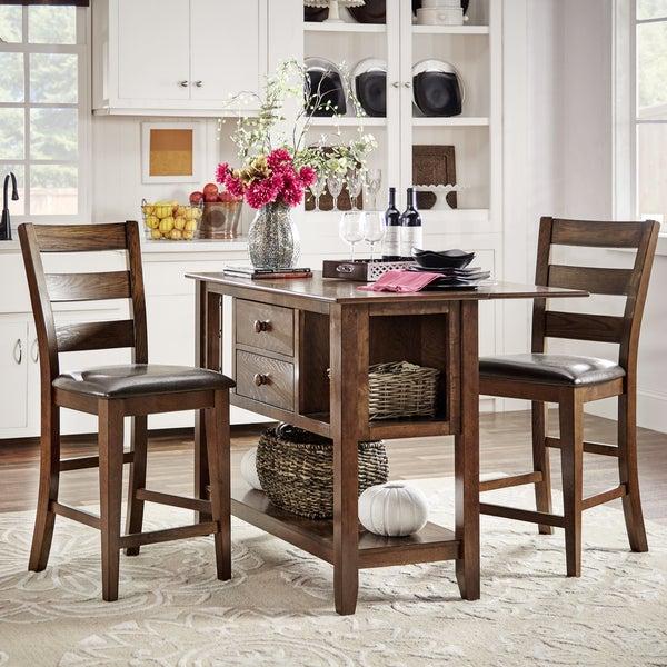 bartol warm brown counter height drop leaf storage kitchen island 17734444. Black Bedroom Furniture Sets. Home Design Ideas