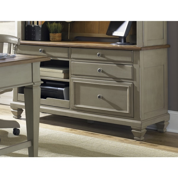 Bungalow Driftwood and Taupe Jr Executive Credenza
