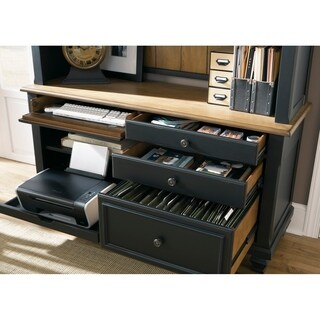 Bungalow Driftwood and Black Jr Executive Credenza