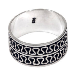 Handcrafted Men's Sterling Silver 'Ripple Tides' Ring (Indonesia)