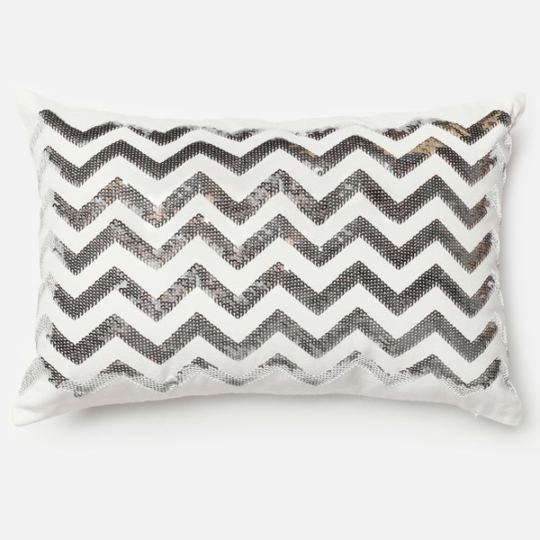 "Sequin Silver/ White Chevron Down Feather or Polyester Filled Throw Pillow or Pillow Cover (13"" x 21"")"