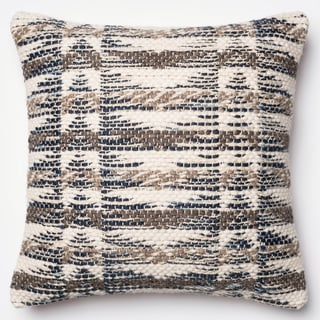 Woven Grey/ Multi Down Feather or Polyester Filled 22-inch Throw Pillow or Pillow Cover