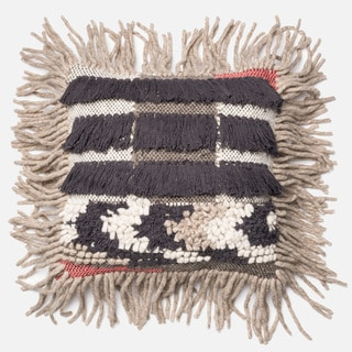Woven Bohemian Fringe Grey/ Multi Down Feather or Polyester Filled 18-inch Throw Pillow or Pillow Cover