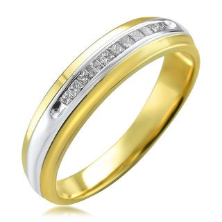Montebello Men's 14k Two-tone Gold 1/4ct TDW Princess-cut White Diamond Wedding Band (H-I, I1-I2)