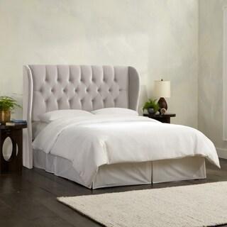 Skyline Furniture Tufted Wingback Headboard in Velvet Light Grey