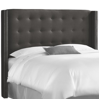 Skyline Furniture Nail Button Tufted Wingback Headboard in Linen Charcoal