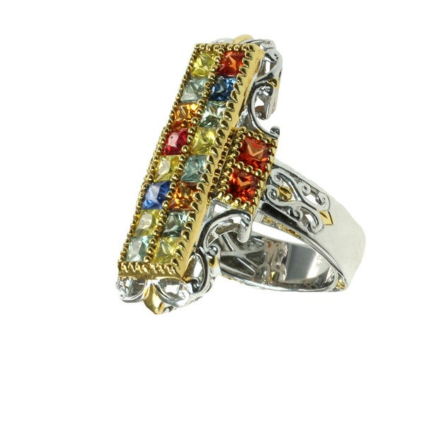 One-of-a-kind Michael Valitutti Multi-Sapphire Ring