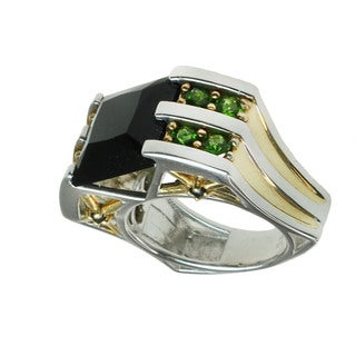 One-of-a-kind Michael Valitutti Men's Black Onyx, Chrome Diopside & Sapphire Ring