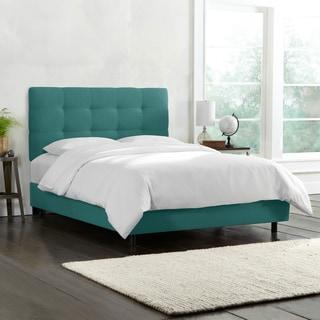 Skyline Furniture Tufted Bed in Linen Laguna