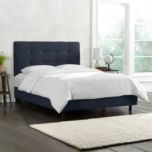Skyline Furniture Tufted Bed in Linen Navy