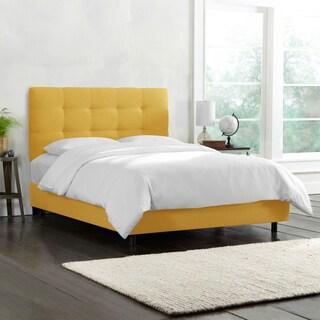 Skyline Furniture Tufted Bed in Linen Grey