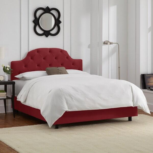Skyline Furniture Tufted Bed in Velvet Berry