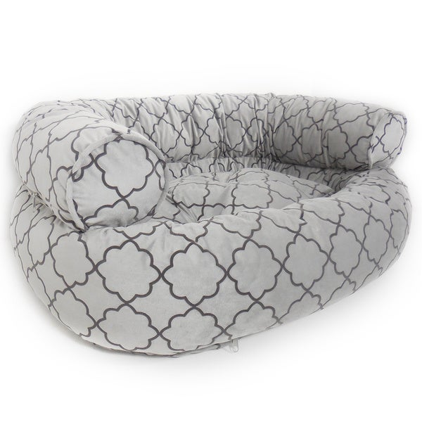 Orthopedic Fluent Geometric Micro Velvet Comfy Sofa Pet Bed