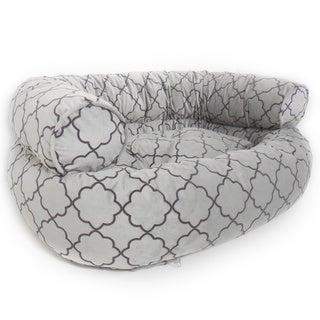 Orthopedic Fluent Geometric Micro Velvet Comfy Sofa Pet Bed