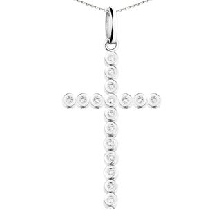 10k White Gold Men's 1 1/5ct TDW Diamond Cross Necklace (F-G, VS1-VS2)