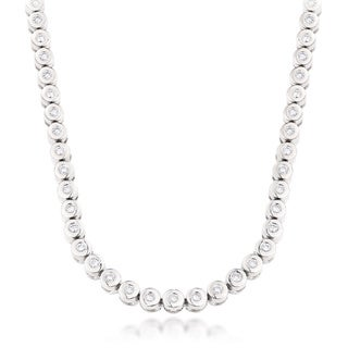 14k White Gold Men's 10ct TDW Diamond Chain Necklace (F-G, VS1-VS2)