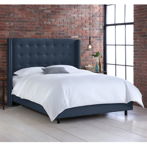 Skyline Furniture Nail Button Tufted Wingback Bed in Linen Navy