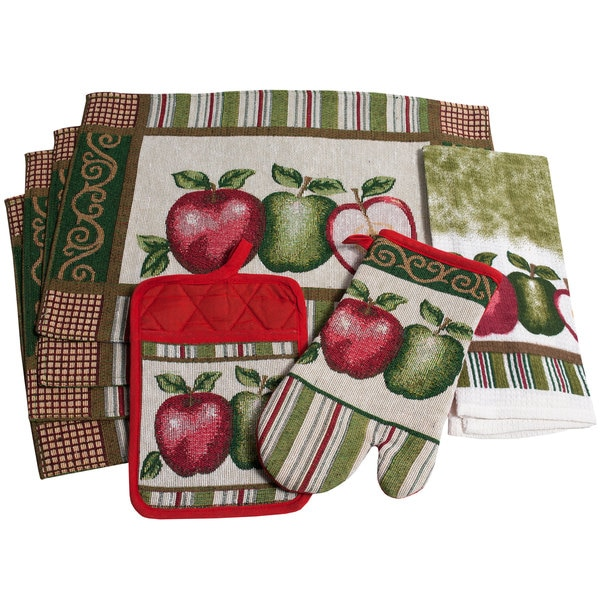Charming 7-piece Red and Green Apples Kitchen Set or Separates