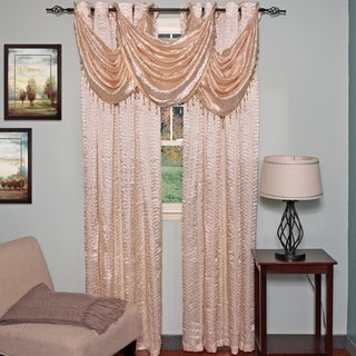 Elegant Faux Crushed Satin Window Curtain/Waterfall Valance Set or Separates
